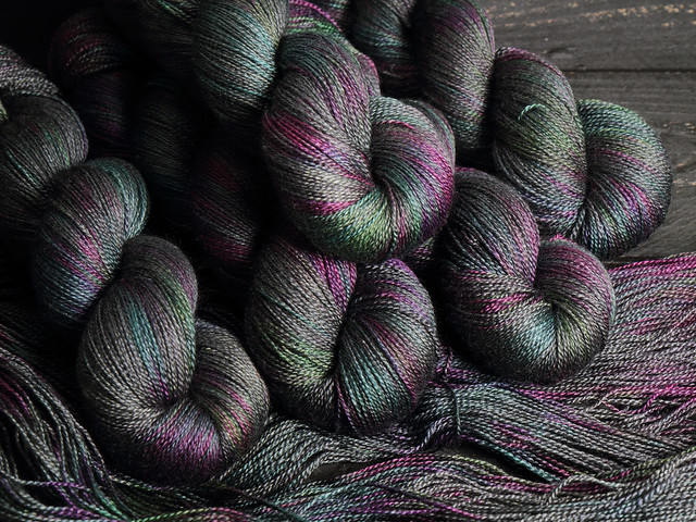Brilliance Lace – British Bluefaced Leicester wool and silk laceweight hand-dyed yarn 100g – 'Space Race'