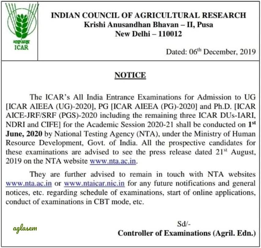 ICAR publishes AIEEA UG, PG, PhD 2020 notification: Says NTA will release application form at ntaicar.nic.in, Confirms exam date