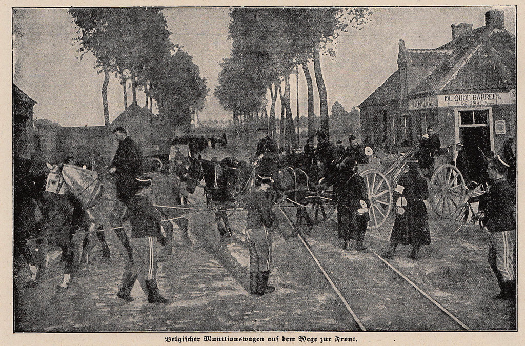 Belgian munitions wagon on the way to the front 1914