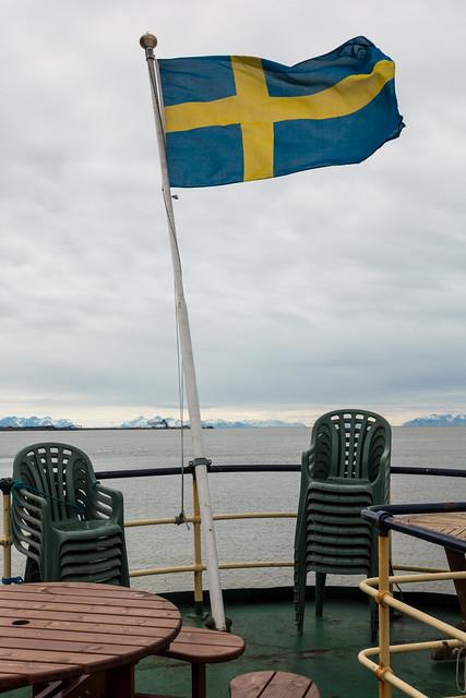 Swedish flag on the MS Origo