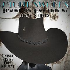 Diamond Jim Black Linen Onyx CB Hat Stone's Works