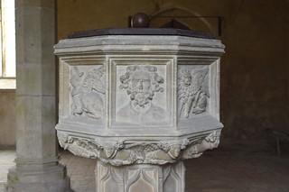 font: winged bull of St Luke, curly-haired head (John the Baptist?), winged lion of St Mark