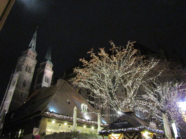 Christmas lights and church spires