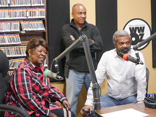 Irma Thomas, Damond Jacob, and Dwayne Breashears at WWOZ's 39th birthday - Dec. 4, 2019. Photo by Louis Crispino.