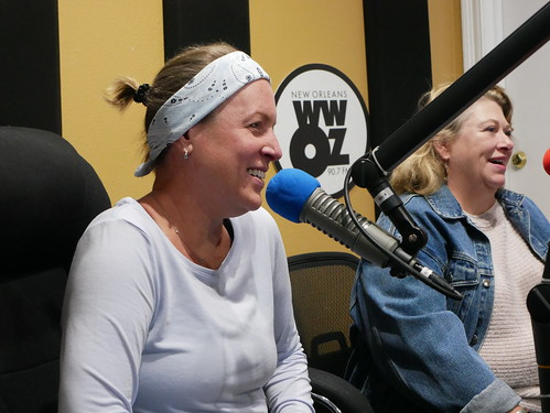 Suzanne Corley and Elizabeth Meneray at WWOZ's 39th birthday - Dec. 4, 2019. Photo by Louis Crispino.