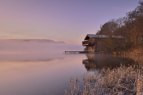 winter first day goldenhour dawn light duke ullswater dukeofportland boathouse pastel mist hoar frost jetty shore pooleybridge lake cumbria lakedistrict lakeland nationalpark landscape imagestwiston countryside water reflection reflections morning unesco worldheritagesite nisi gnd neutraldensity grad