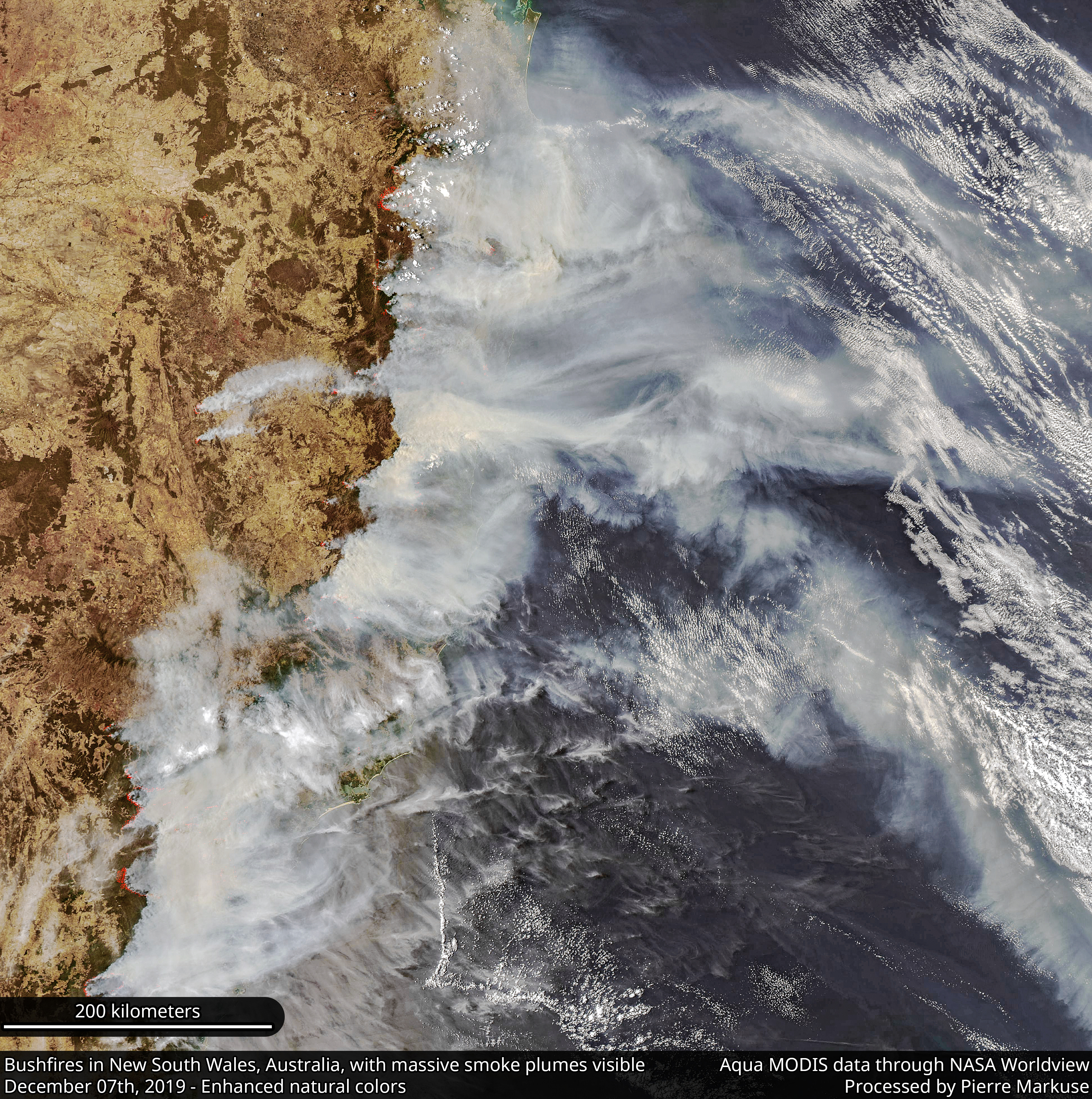 Bushfires in New South Wales, Australia, with massive smoke plumes visible - December 7th, 2019