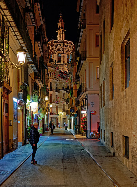 Valencia Side Street at Night (Panasonic S1 & Lumix 24-105mm f4 Zoom) (DxO Edited)