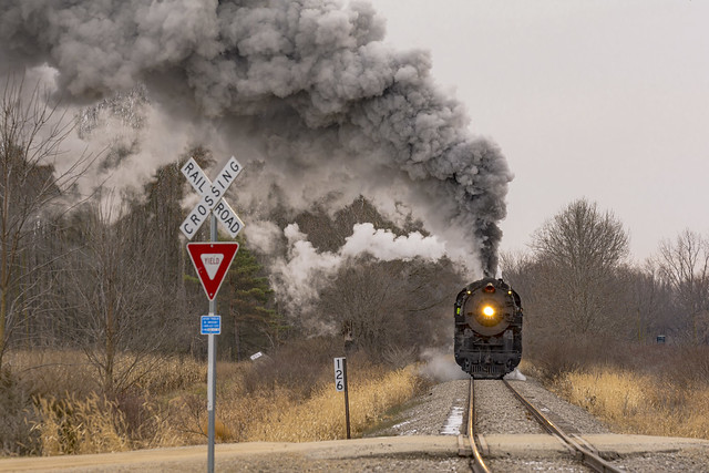 Pere Marquette 1225 making it's North Pole Express holiday run between Owosso and Ashley, Michigan