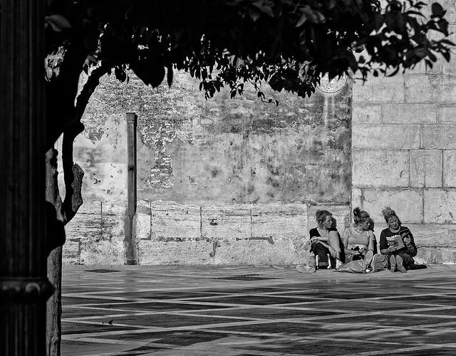 Candid ( Sitting in the Sun) Patrica Square - Valencia (Monochrome) (Panasonic S1 & 24-105mm f4 zoom (DxO Edited)