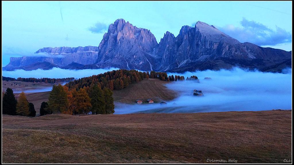 秋游欧3 多洛米蒂休斯高原Alpe di Siusi,秋色很黄