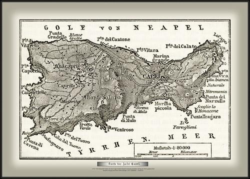 s795 7388 MeyA4B3 Karte der Insel Capri Dritter Band Konversationslexikon Verlag des Bibliographischen Instituts Leipzig und Wien Vierte Auflage 1889. Blattkäfer - Chimbote