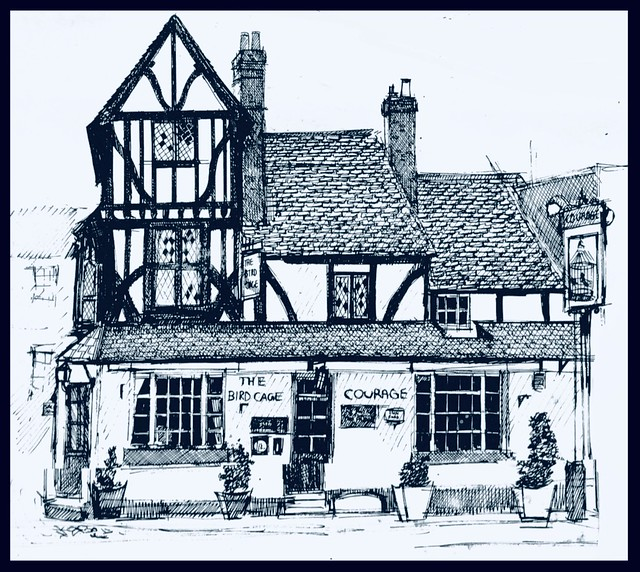 The Bird cage, Thame .Pen and ink drawn by jmsw,