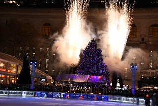 Picture Of Fireworks Surrounding The 2019 Bryant Park Christmas Tree In New York City Moments After Being Lit For The 2019 Holiday Season. Photo Taken Thursday December 5, 2019