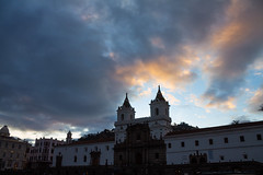 Sunset at San Francisco church in Quito
