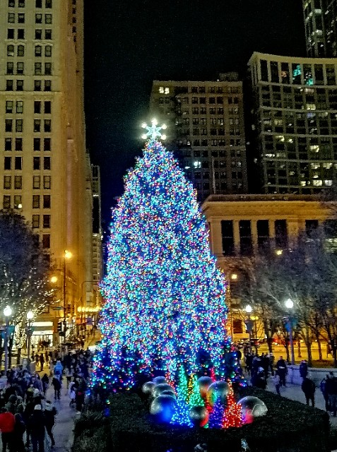 Chicago downtown. Christmas time.