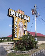Jesse James Wax Museum & Toy Museum Sign on Route 66 in Stanton, Missouri