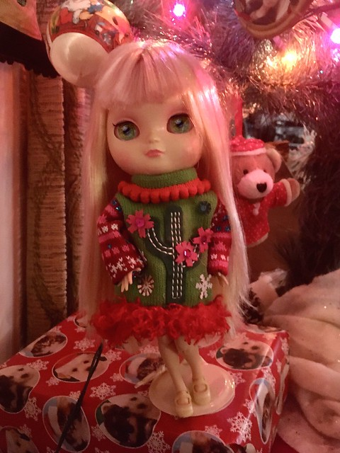 Cherry 🍒 in cactus Christmas sweater dress under the tree🎄