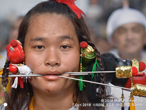 matthahnewaldphotography facingtheworld qualityphoto character head face eyes piercing pin decorated skewer needle mouth expression two conceptual society religion impact spiritual religious traditional cultural festival devotee worshiper phukettown thailand asian asia thaichinese person female woman detail nikond610 nikkorafs85mmf18g primelens 85mm 4x3ratio resized 1200x900pixels horizontal street portrait closeup headshot fullfaceview colour authentic celebration ceremony mahsong masong vegetarianfestival nineemperorgods event pain parade jiachai ritual taoist extreme mutilation background clarity cheek lookingcamera