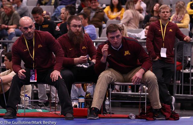 Coach Luke Becker, Trainer Curtis Simondet, Coach Trevor Brandvold, Coach Zach Sanders - 191207amk0022