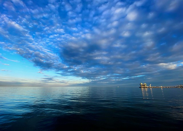 Blue Sky and Clouds over the New St. Petersburg Pier