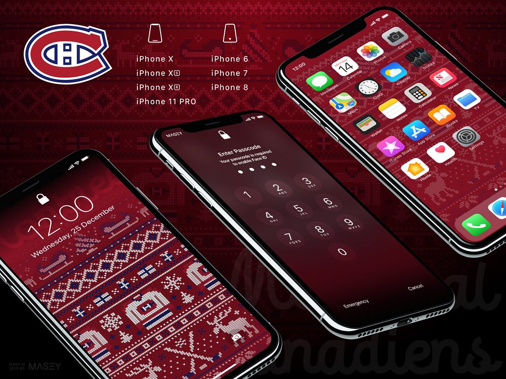 "Montreal Canadiens Christmas ""Ugly Sweater"" iPhone Wallpaper"