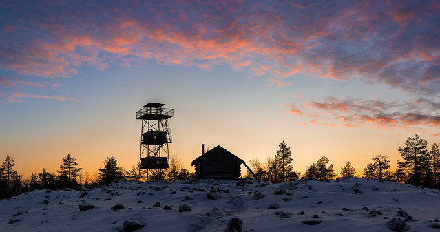 Tower, a Hut and the Sunset