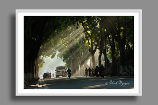 First rays of light on Phan Dinh Phung street in winter.