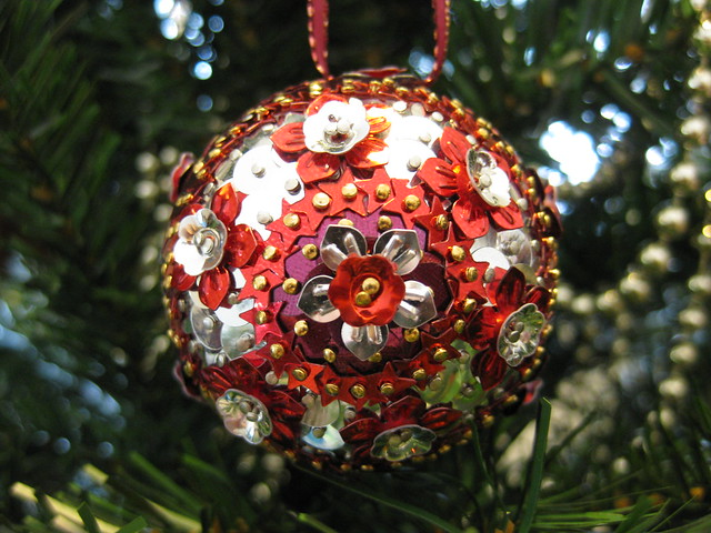 Hand Beaded Red, Burgundy and Silver Floral Christmas Bauble