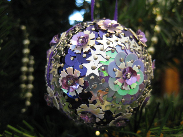 Hand Beaded Violet and Silver Lilac Floral Christmas Bauble