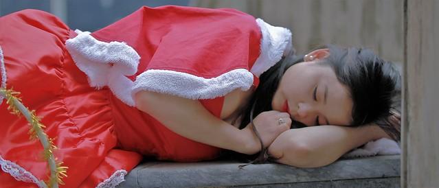 Santa Girl sleeping