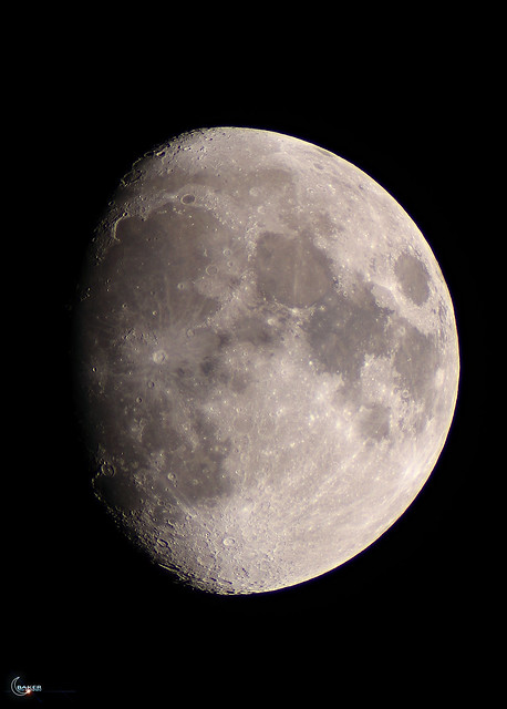Moon over Massachusetts 84.2% Waxing Gibbous 247,861 miles from the back yard...