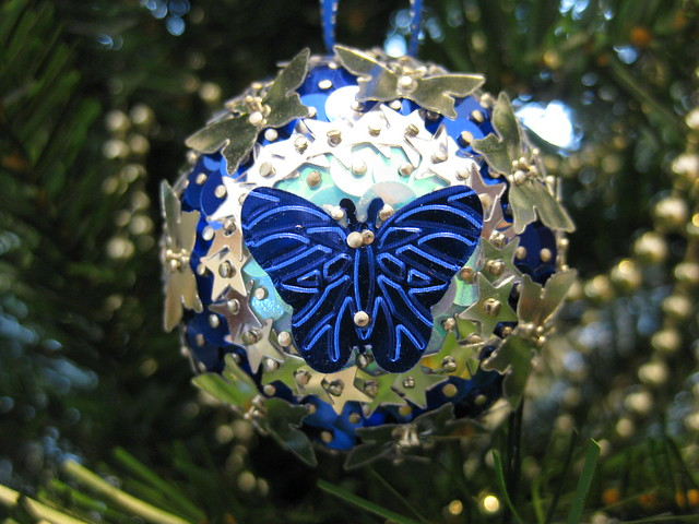 Hand Beaded Blue and Silver and Blue Butterfly and Star Christmas Bauble