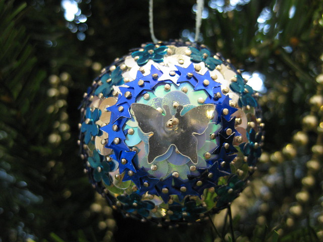 Hand Beaded Blue and Silver Floral, Butterfly and Star Christmas Bauble