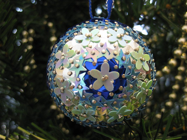 Hand Beaded Royal and Silver Blue Floral Christmas Bauble