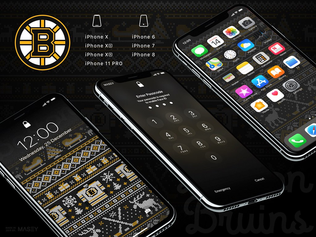 "Boston Bruins Christmas ""Ugly Sweater"" iPhone Wallpaper"