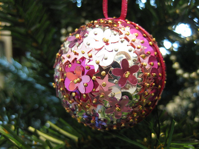 Hand Beaded Pink and Magenta Floral Christmas Bauble