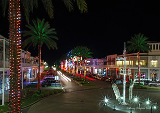 Spectra sound and light show at The Wharf, Orange Beach.  8 second shutter speed producing light trails as the automobiles moved up and down main street.