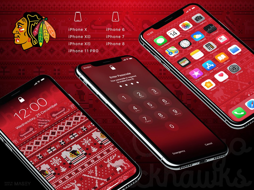 "Chicago Blackhawks Christmas ""Ugly Sweater"" iPhone Wallpaper"