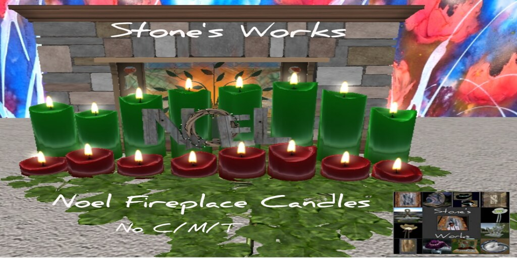 Noel Fireplace Candles Stone's Works