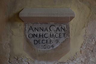 Anna Cannon hic jacet December 9 1604