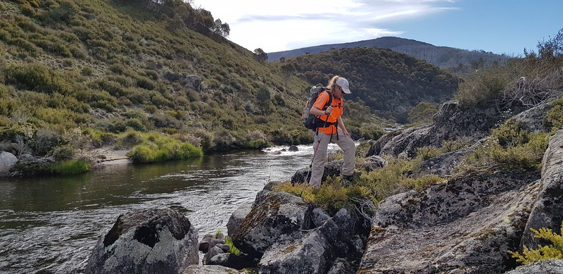 Rock hopping on the Tooma River