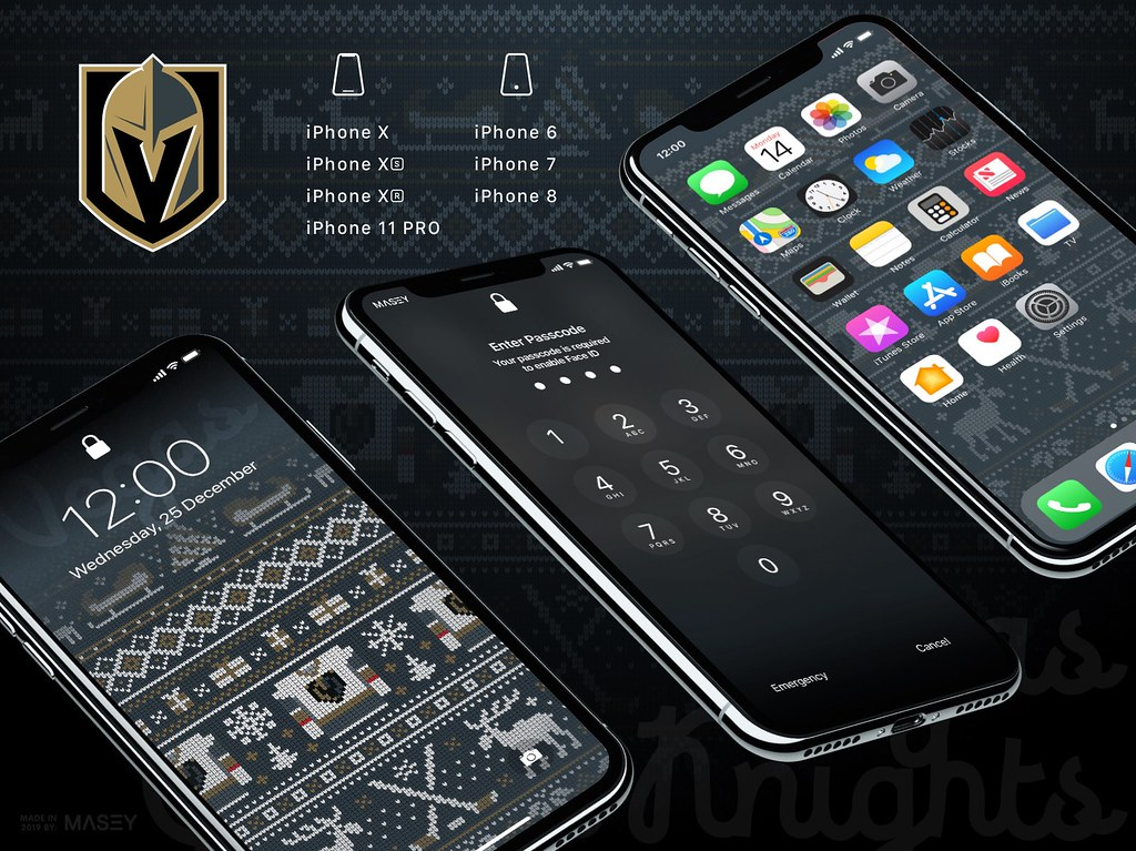 "Vegas Golden Knights Christmas ""Ugly Sweater"" iPhone Wallpaper"
