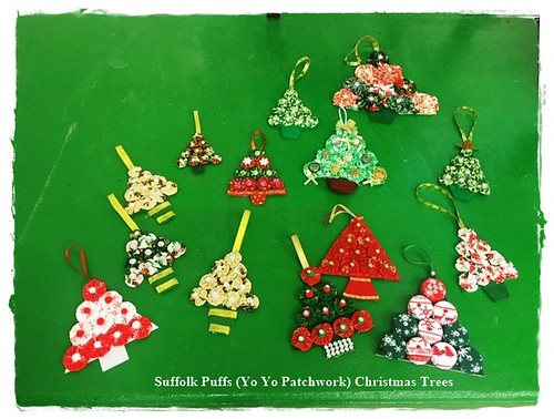 Suffolk Puff (Yo Yo Patchwork ) Christmas Trees.