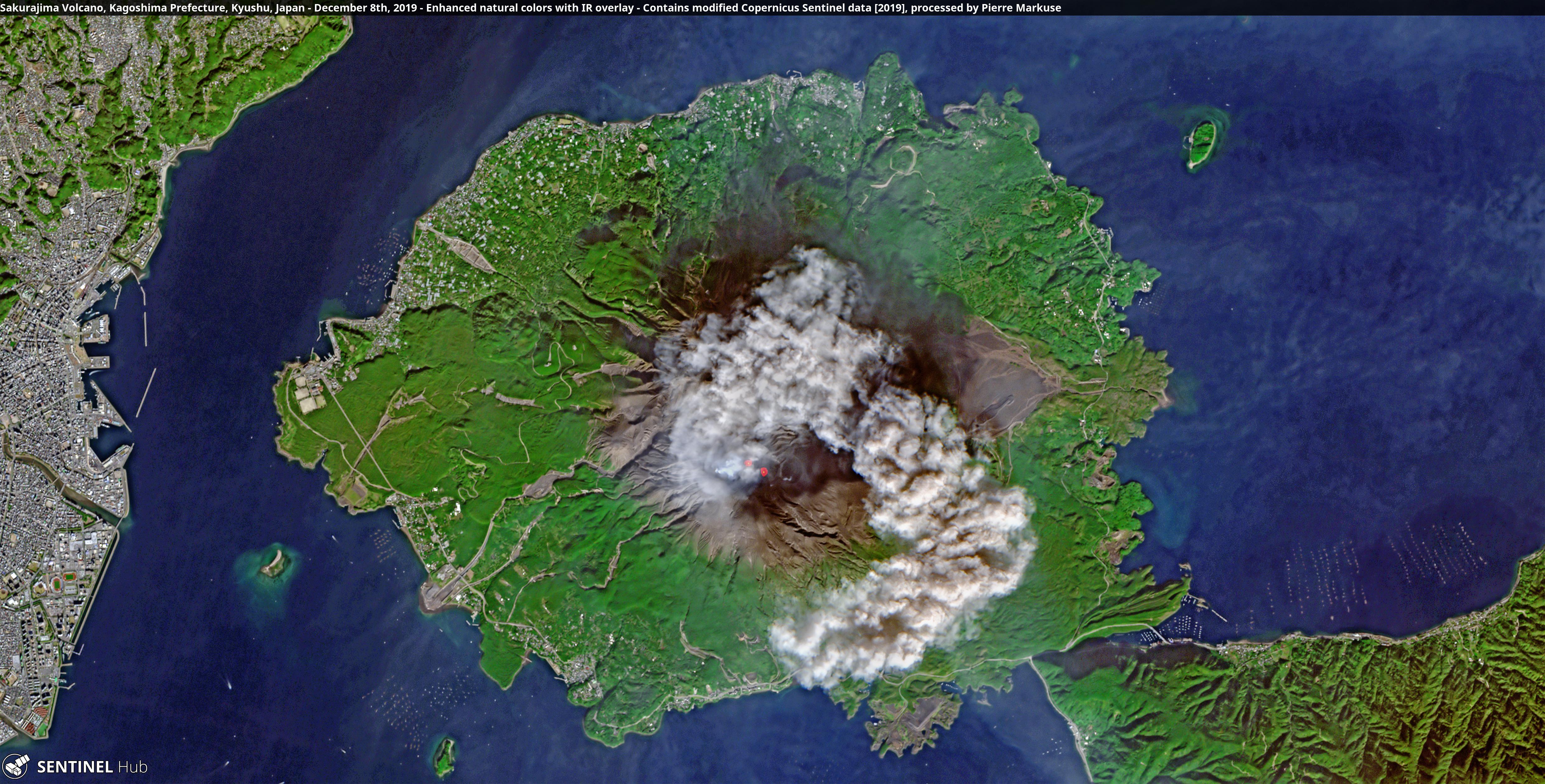 Sakurajima Volcano, Kagoshima Prefecture, Kyushu, Japan - December 8th, 2019
