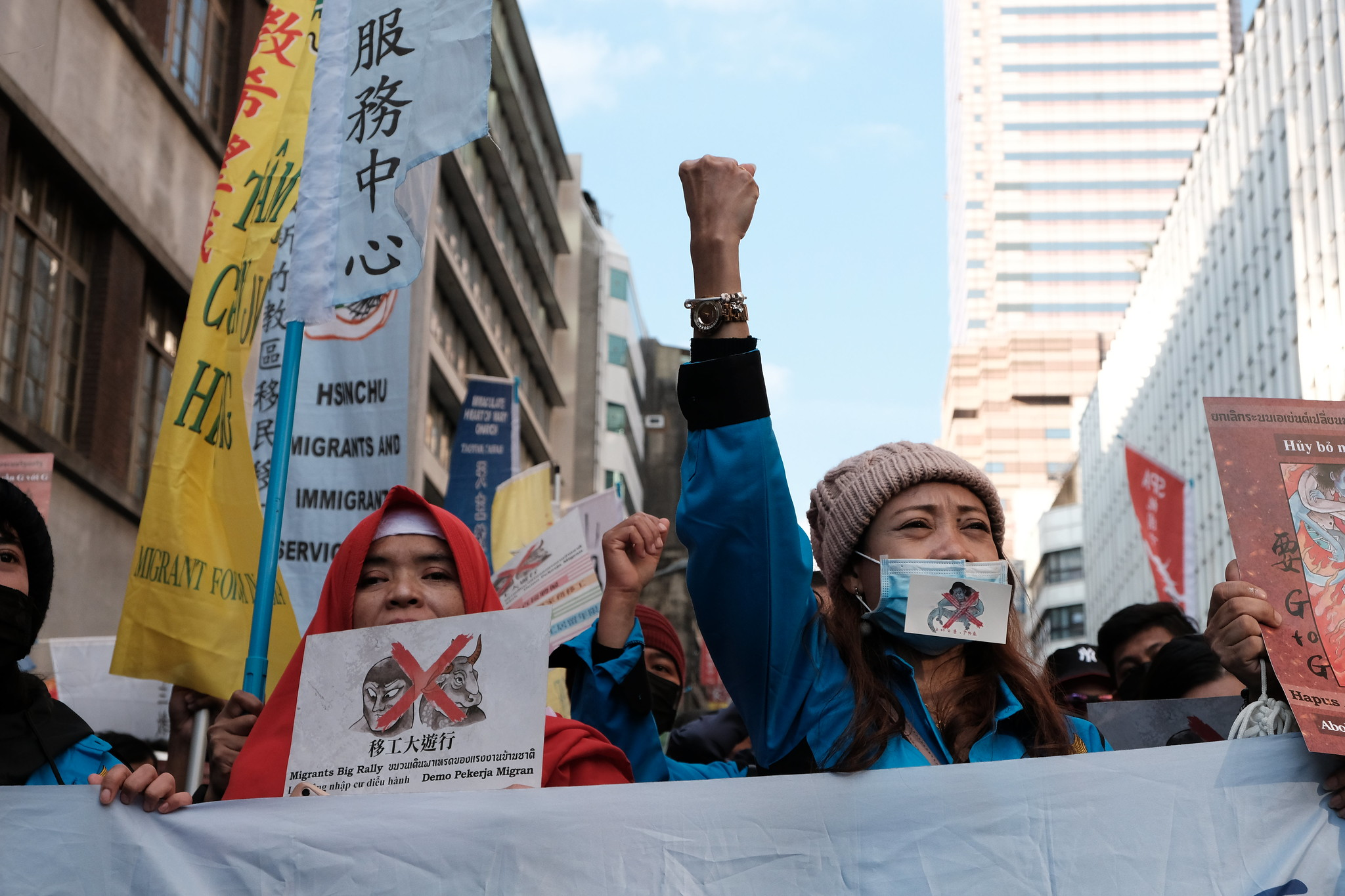 參與者於勞動部前高喊「G2G」。(攝影:唐佐欣)