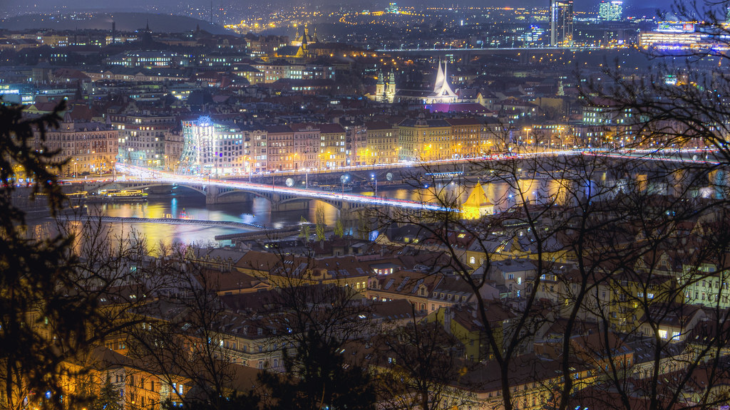 Night Traffic Over the Vltava River