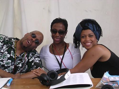 Mark Hawkins, Sondra Bibb, and Samirah Evans at Jazz Fest Live Broadcast. Photo courtesy of Samirah Evans.