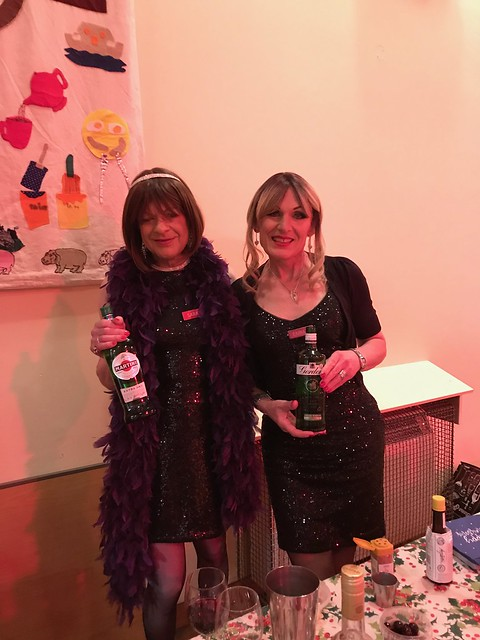 I've mentioned Costume Society Scotland in previous posts because I'm their webmistress. Last week was the Xmas party and there was a 'cocktail' theme. Emma and I were the cocktail barmaids.