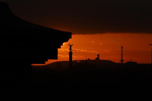 sunset sonnenuntergang evening abend berlin reichstag siegessäule funkturm